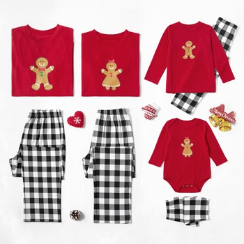 Family Matching Lovely Gingerbread Man Print Plaid Christmas Pajamas Sets (Flame Resistant)