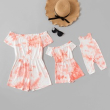 Tie dye Off-shoulder Matching Shorts Rompers