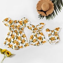 Sunflower Print Ruffle Off-shoulder Matching Shorts Rompers
