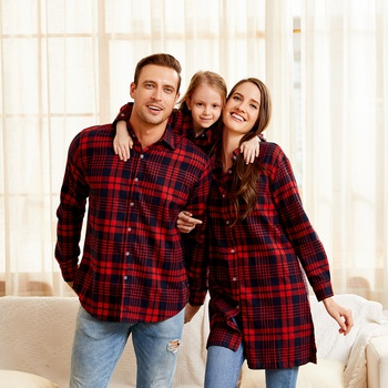 Plaid Striped Cotton Family Matching Button Front Shirts