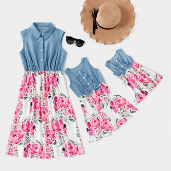 Denim Stitching White Floral Sleeveless Matching Midi Dresses