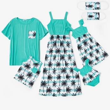 Mosaic Family Matching Cotton Coconut Tree Series Cotton Sets(Tank Dresses - Mosaic Family Matching Coconut Tree Series Cotton Sets(Tank Dresses - Tops - Rompers -Masks)
