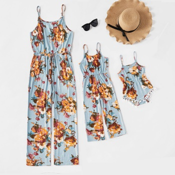 Floral Printed Tank Long Jumpsuits for Mommy and Me