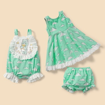 "Care Bears ""Wish Upon A Cloud"" Cotton Sibling Dress and Romper"