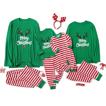 Family Matching Merry Christmas Antler Print Striped Pajamas Sets (Flame Resistant)