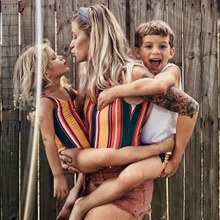 Colorful Striped Family Swimsuits