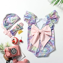 3-piece Baby / Toddler Girl Colorful Scale Print Bowknot Swimwear and Headband with Hat Set