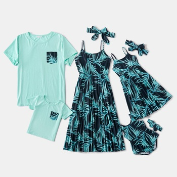 Mosaic Family Matching Palm Leaf Tank Dresses - Solid T-shirts - Rompers