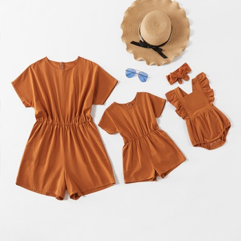Casual Solid Short-sleeve Rompers for Mommy and Me