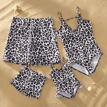 Mosaic Family Matching Leopard Print Backless  Swimsuits