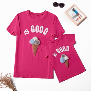 Stereoscopic Ice-cream Pattern Cotton T-shirts for Mom and Me