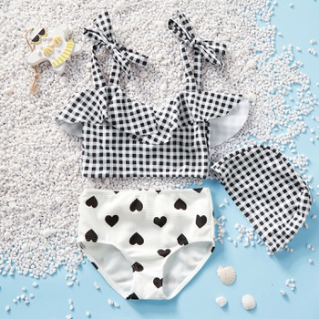 2-piece Baby / Toddler Girl Plaid Top and Heart Print Bottom Swimsuit Set