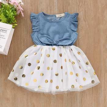 Ruffle Denim Polka Dot Tulle Dress