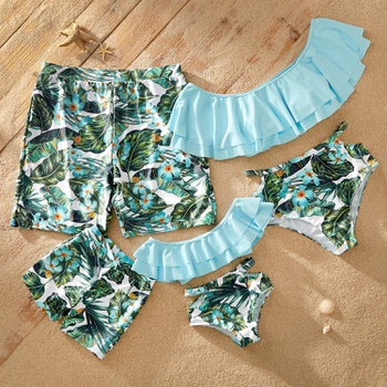 Off-shoulder Flounce Plants Print Matching Swimsuits