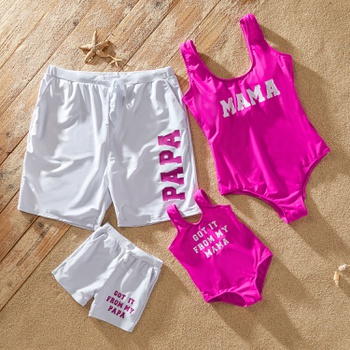 Family Letter Print Matching Swimsuits