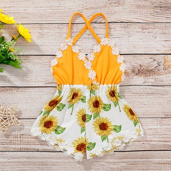 Baby Lace Backless Sunflower or Pineapple Romper