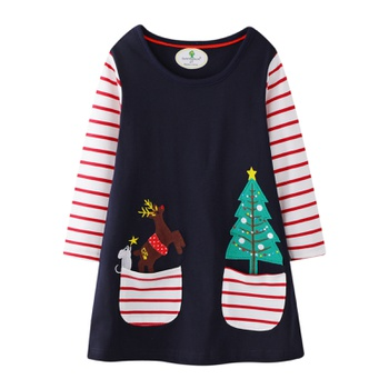 Kids Girl Elk Print Striped Long-sleeve Dress