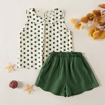 2-piece Pretty Polka Dots Doll Collar Linen Tank and Solid Shorts Set