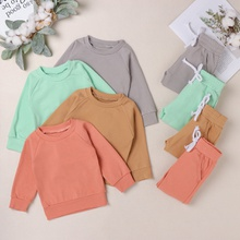 2pcs Baby Unisex Sports Solid Long-sleeve Cotton Baby's Sets