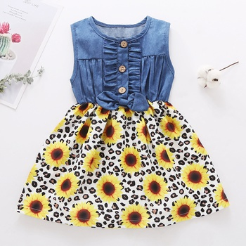 1pc Baby Girl Short-sleeve Cotton Floral Denim Dress