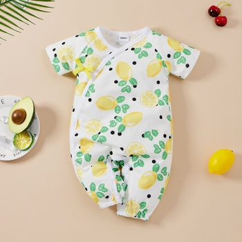 Baby Short-sleeve Casual Fruit&Lemon Jumpsuit
