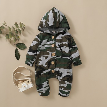 Baby Boy / Girl Camouflage Style Hooded Long-sleeve Jumpsuit
