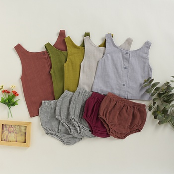 Solid Botton Front Tank and Shorts Set