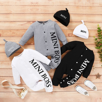 Baby MINI BOSS Letter Print Jumpsuit with Hat
