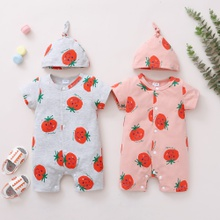 2-Piece Baby Tomato Print Short-sleeve Romper and Hat Set