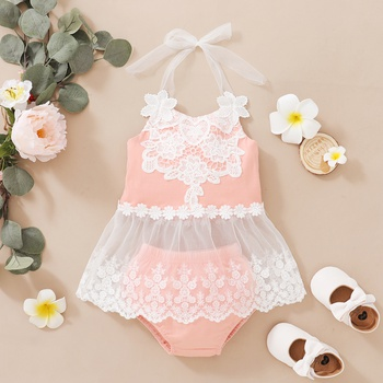 2pcs Baby Girl Embroidered Sleeveless Solid Summer Tulle Cotton Top Shorts Baby Sets