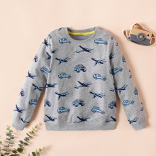 Fashionable Cartoon Car and Plane Allover Print Long-sleeve Sweatershirt