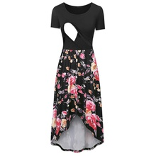 Stylish Floral Print Short-sleeve Nursing Dress