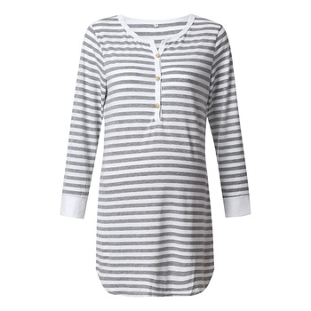 Casual Striped Long-sleeve Nursing Dress