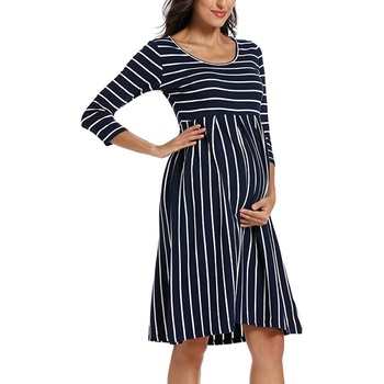 Maternity Round collar Stripes Color block Knee length Parachute skirt Long-sleeve Dress