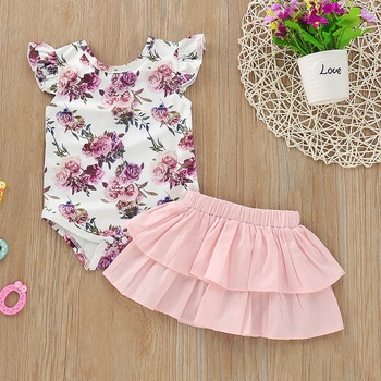 Baby Girl's Flower Allover Bodysuit and Solid Tiered Skirt