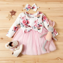 2-piece Baby / Toddler Girl Floral Print Bowknot Decor Long-sleeve Tulle Dress with Headband Set (No Shoes )