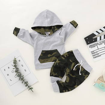2pcs Baby Boy Sports Camouflage Baby's Sets Fashion Cute Infant Hooded Outfit Clothing