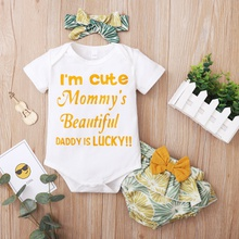 3pcs Summer Short-sleeve Cotton Baby Girl Sweet Letter Baby's Sets