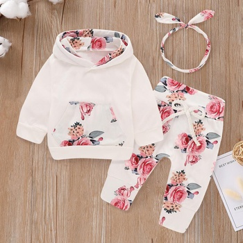 Beautiful Floral Long-sleeve Hoodie, Pants and Headband Set
