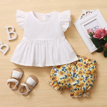 2pcs Baby Girl Sweet Floral Solid Short-sleeve Cotton Baby's Sets