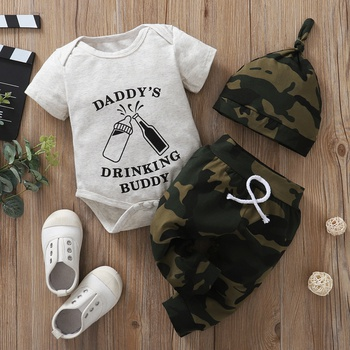 3pcs Letter Print Cotton Spring Summer Fall Short-sleeve Baby's Sets Romper