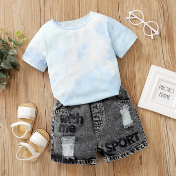 2-piece Baby / Toddler Trendy Dyed Tee and Denim shorts