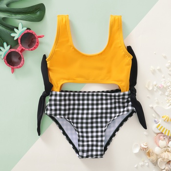 Baby Girl Plaid Swimsuit Solid Baby Clothes