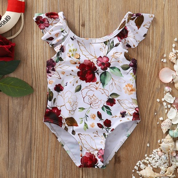 1pc Baby Girl Floral Rose Swimwear