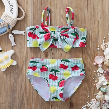 2pcs Baby Girl Fruit Cherry Swimsuit