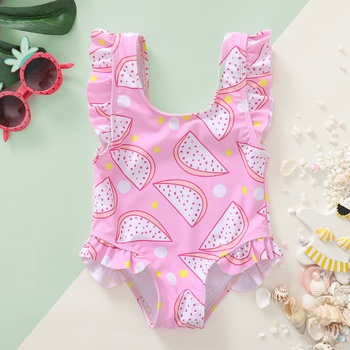 1pc Baby girl Watermelon Pink Swimwear