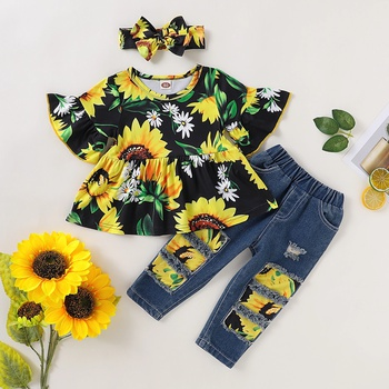 3pcs Sunflower Print Short-sleeve Cotton Top and Jeans Set For Girls