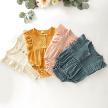 Baby Ruffled Solid Sleeveless Bodysuit