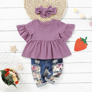 3-piece Solid Bell Sleeves Top and Allover Jeans Set