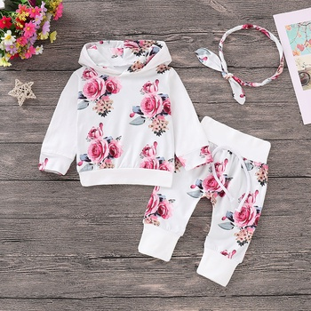 3-piece Trendy Flower Patterned Hoodie, Pants and Headband Set for Baby
